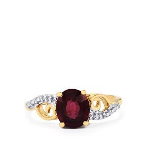 Malawi Garnet & Diamond 10K Gold Ring ATGW 1.83cts