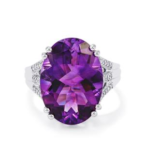 Moroccan Amethyst & Diamond 14K White Gold Ring ATGW 10.59cts