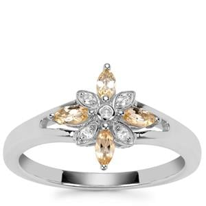 Ouro Preto Imperial Topaz Ring with White Topaz in Sterling Silver 0.39ct