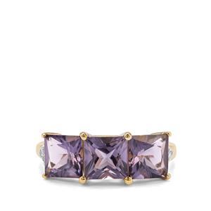 Montezuma Blue Quartz Ring with Diamond in 9K Gold 2.82cts