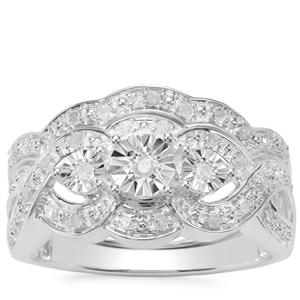 Diamond Set of 2 Rings in Sterling Silver 0.29ct