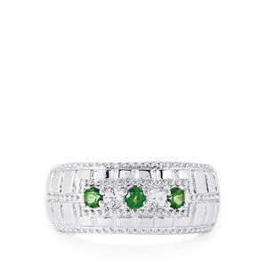 Fern Green Topaz Ring with White Topaz in Sterling Silver 0.45cts