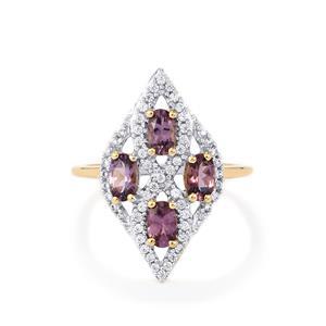 Mahenge Purple Spinel & White Zircon 9K Gold Ring ATGW 1.46cts
