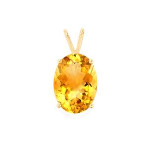 Diamantina Citrine Pendant in 10K Gold 11.24cts