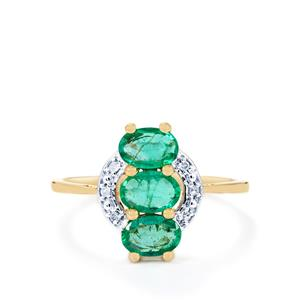 Zambian Emerald Ring with Diamond in 9K Gold 1.05cts