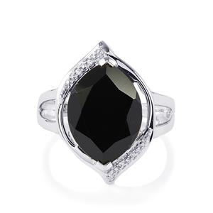Black Spinel & White Zircon Sterling Silver Ring ATGW 10.34cts