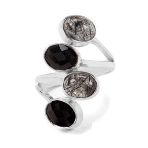 Black Rutilite & Black Onyx Sterling Silver Aryonna Ring ATGW 6cts