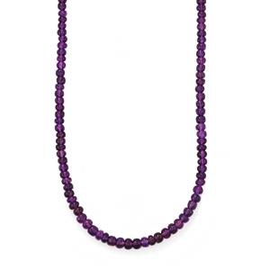 Zambian Amethyst Bead Necklace in Sterling Silver 72cts