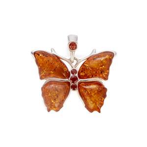 Baltic Cognac Amber Pendant with Rhodolite Garnet in Sterling Silver