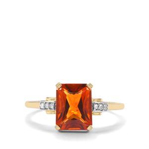 Madeira Citrine & Diamond 9K Gold Ring ATGW 1.88cts