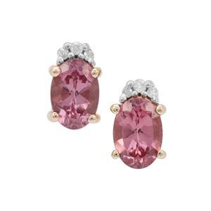 Malaya Garnet Earrings with Diamond in 9K Gold 1.35cts