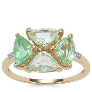 Paraiba Tourmaline Ring with Diamond in 10K Gold 1.97cts