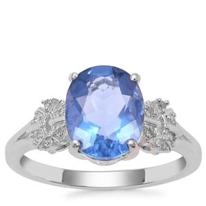 Colour Change Fluorite Ring with White Zircon in Sterling Silver 3.10cts