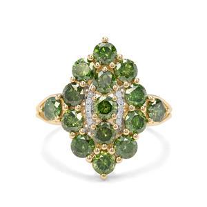 2.70ct Green & White Diamond 9K Gold Ring