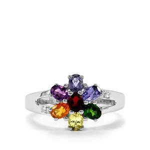 1.30ct Rainbow Gemstones Sterling Silver VIBGYOR Ring