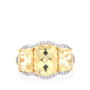 Serenite Ring with White Zircon in 10K Gold 5.72cts