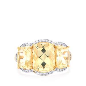 Serenite & White Zircon 9K Gold Ring ATGW 5.72cts