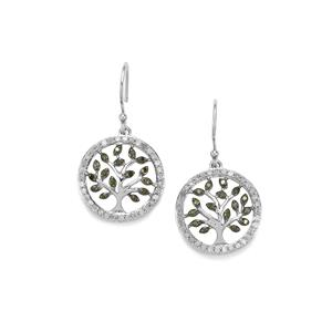 1ct Green & White Diamond Sterling Silver Tree of Life Earrings