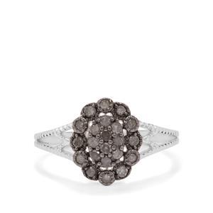 Grey Diamond Ring in Sterling Silver 0.34ct