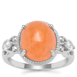 Triphylite Ring with White Zircon in Sterling Silver 5.98cts