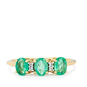 Siberian Emerald Ring with White Zircon in 10k Gold 1.31cts