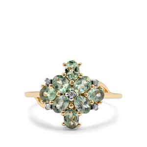 Alexandrite Ring with Diamond in 10K Gold 1.59cts