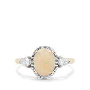 Ethiopian Opal & White Zircon 9K Gold Ring ATGW 1.40cts