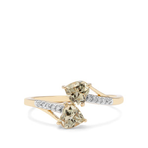 Csarite® & Diamond 9K Gold Ring ATGW 1.02cts