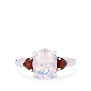 Rio Grande Lavender Quartz & Red Garnet Sterling Silver Ring ATGW 3cts