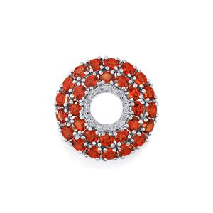 Mozambique Garnet Pendant with Diamond in Sterling Silver 6.32cts