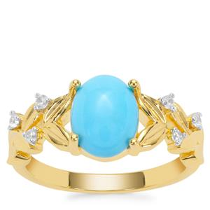 Sleeping Beauty Turquoise Ring with White Zircon in Gold Plated Sterling Silver 1.70cts