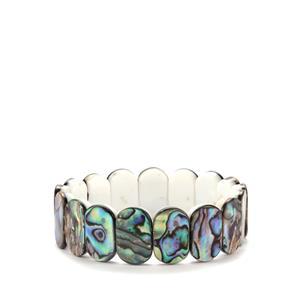 Paua & White Shell Northern Lights Elasticated Bracelet (18x11mm)