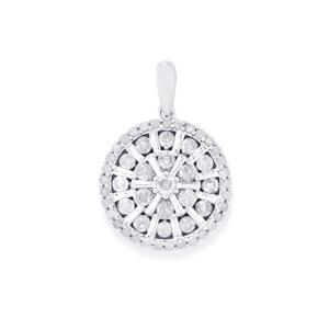Diamond Pendant in 10k White Gold 1ct