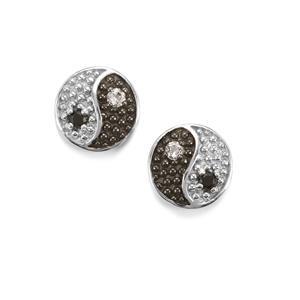 Black Spinel & White Topaz Yin Yang Sterling Silver Earrings ATGW 0.17cts