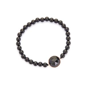 Black Agate Stretchable Bracelet in Rose Tone Sterling Silver 54.50cts