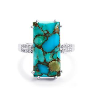 Egyptian Turquoise & White Topaz Sterling Silver Ring ATGW 10.34cts