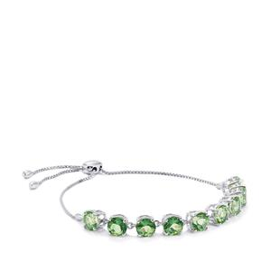Fern Green Quartz Slider Lone Star Bracelet in Sterling Silver 12.92cts