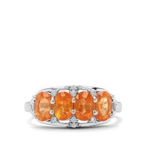Mandarin Garnet & White Zircon Sterling Silver Ring ATGW 2.98cts