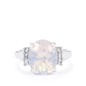 Lavender Quartz Ring with White Topaz in Sterling Silver 4.51cts