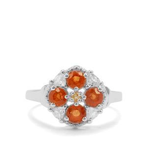 Mandarin Garnet, Diamantina Citrine & White Zircon Sterling Silver Ring ATGW 2.14cts