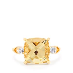 Serenite & Diamond 9K Gold Ring ATGW 3.60cts