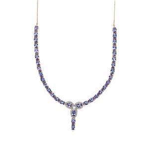 AA Tanzanite Necklace with White Zircon in 9K Gold 21.79cts