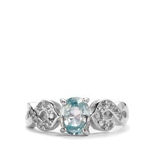 Ratanakiri Blue Zircon & White Topaz Sterling Silver Ring ATGW 1.49cts