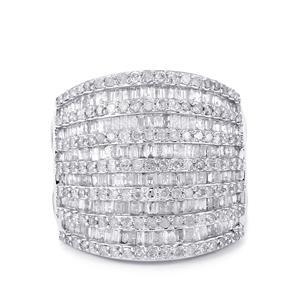 Diamond Ring in 10k White Gold 1.95ct