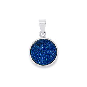 10.77ct Titanium Blue Drusy Sterling Silver Aryonna Pendant