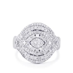 Diamond Ring in Sterling Silver 0.79ct