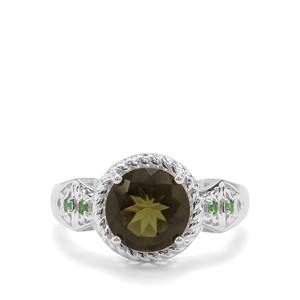 Moldavite & Tsavorite Garnet Sterling Silver Ring ATGW 2.20cts