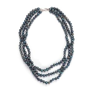 Kaori Cultured Pearl Sterling Silver 3 Strand Necklace