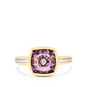 Lehrer TorusRing Ametista Amethyst Ring with Diamond in 10k Gold 2.69cts