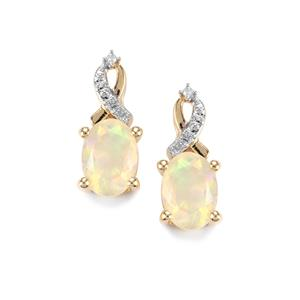 Ethiopian Opal & Diamond 10K Gold Earrings ATGW 1.05cts